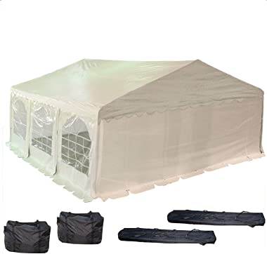 20'x20' PE Party Tent White - Heavy Duty Wedding Canopy Carport Gazebo - with Storage Bags - By DELTA Canopies