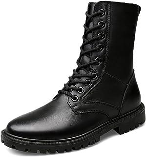 Botas de Cuero Negro Cadete de los Hombres Seguridad Militar Botas de Senderismo de Piel para Hombre