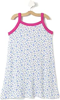 CrayonFlakes Girl's Polyester Blue Pink Floral Straight Knit Dress KD-1807 1-2 Y