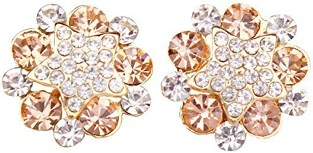 Bridal 18K Gold Plated Rhinestone Crystal Five-pointed Star Flower Clip on Earrings No Pierced
