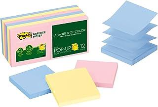 Post-it Greener Pop-up Notes, 7,6 cm x 7,6 cm, Coleção Helsinki, 100 folhas/almofada, 12 blocos/pacote (R330RP-12AP)