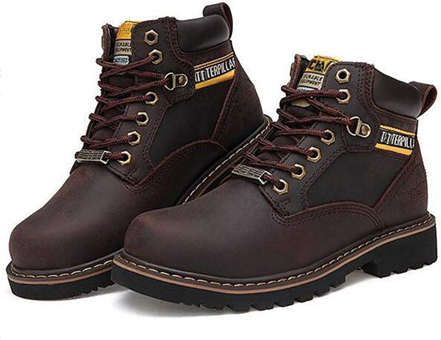 Snfgoij Safety shoes Men Trainers Waterproof Anti-Slip Outdoor Martin Boots Scrub Leather Outdoor High Help,Brown-40
