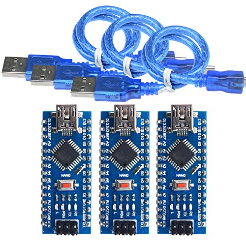 diymore 3PCS Nano V3.0 Mini USB ATmega328 Atmega328P Micro controller Board CH340G 5V 16M MEGA328 Module Replace FT232RL For Arduino with USB Cable(Welded)