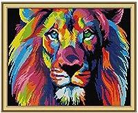 製絲 クロスステッチ 刺しゅうキット 塗られたライオン 11CT DIY 手作りCross Stitch刺繍 正確な図柄印刷クロスステッチ-40x50cm