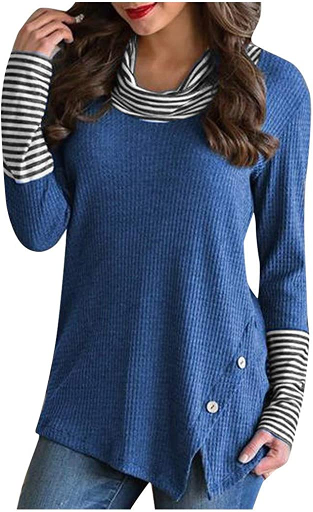 Clearance Womens Tops Long Sleeve Cowl Stripe Cas Patchwork Clearance SALE! Limited time! New product Neck