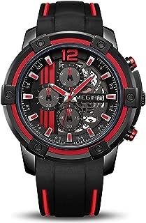 Men's Analogue Sport Quartz Wrist Watches with Soft Silicone Strap Chronograph Luminous Auto Calendar Waterproof Function 2097