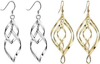 QKAIFRYSUG 2 Pairs Fashion Sterling Silver Cross Dangle Earrings for Women Mens 1.2inch(Silver,Black)