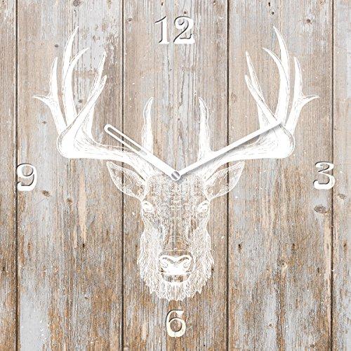 Eurographics Deer Head On Wood Wanduhr, Glas, Braun, 55 x 55 x 3.5 cm