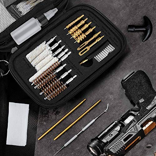 klola Universal Handgun Cleaning Kit 25 in 1 Pistol Cleaning Kit for .22 .357/.38/9mm .40 .45 Caliber Gun Brush Tools Gun Accessories Great Gifts for Men Women Husband Boyfriend