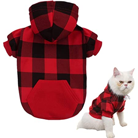 BinetGo Dog Hoodies Pet Clothes Dog Sweatshirts Pullover Cat Jackets for Doggie Clothes Cotton with Pom Pom Ball
