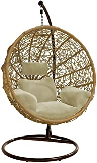 Wicker Basket Hanging Swing Egg Chair with Durable Metal Frame, Max 150 Kg (Honey)