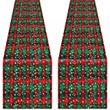Aneco 2 Pack Christmas Plaid Snowflake Table Runner Cotton Snowflake Plaid Table Runner Red and Green for Indoor Outdoor Events 13 x 72 Inches