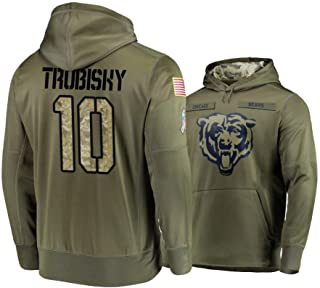 Littlearth Men's Chicago Bears #10 Mitchell Trubisky Salute to Service Hoodie - Olive Men L