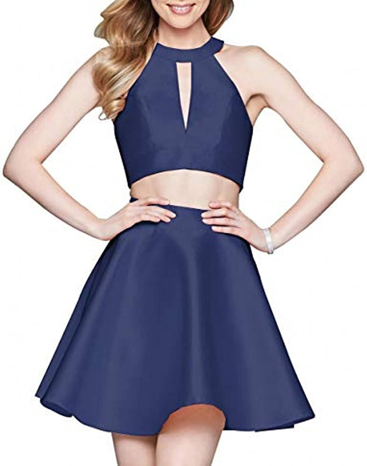 LEJY Short Halter Homecoming Dresses 2018 Two Pieces Satin Mini Prom Dress with Bow