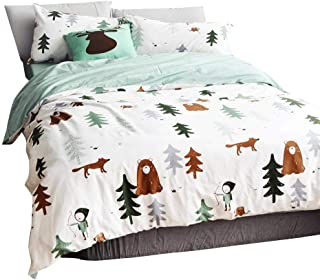 BuLuTu Siberia Forest Theme Boys Duvet Cover Queen Cotton Darker White,Cartoon Duvet Cover Set Kids,3 Pieces US Full Bedding Collection Sets(1 Duvet Cover + 2 Pillowcases) for Double Bed,No Comforter