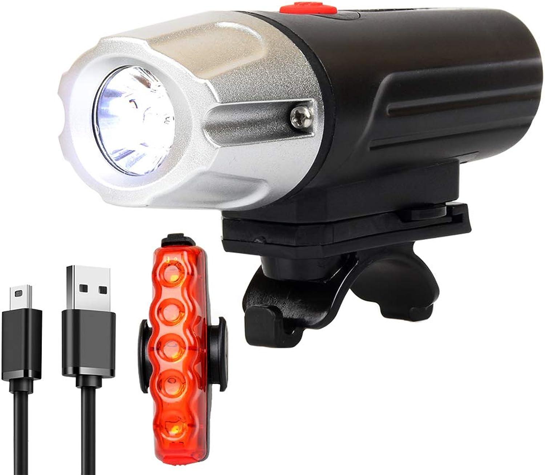 LED Bicycle Light Set, Bicycle Light Headlight Taillight Set USB Charging LED Glare 300 Lumens IP6 Waterproof Bicycle Light