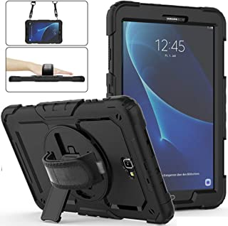 Samsung Galaxy Tab A 10.1 Case 2016 with Screen Protector, SM-T580/T585 Herize Heavy Duty Shockproof Rugged Protective Case for Kids with Stand, Hand Strap& Shoulder Strap for Tab A 10.1 Cover Black