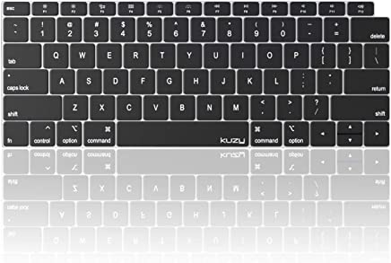 Kuzy - MacBook Air Keyboard Cover, 13 inch 2019 2018 New A1932 with Touch ID and Retina Display Silicone Key Board Protective Skin Protector, Apple MacBook Air Accessories - Black