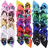 SIQUK 20 Pieces Sequin Bows 4.5 Inch Hair Bows...