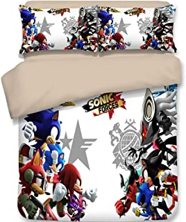 HIMFL Microfiber Bedding Set 3D Printed Hedgehogs Sonic Duvet Cover Set for Teens Children Adult (1 Duvet Cover 2 Pillowcases)