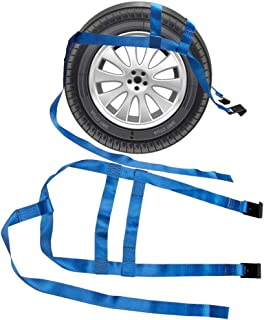 Bang4buck 2Pcs Car Basket Rachet Tow Dolly Straps Adjustable Racing Rally Dolly Wheel Net Set with Flat Hooks for 17 Inch To 21 Inch Rim Size