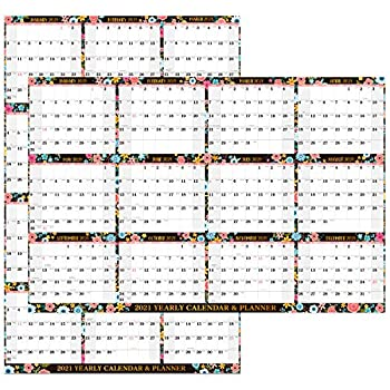 2021 Yearly Wall Calendar - 2021 Dry Erase Calendar with Julian Date Jan - Dec 2021 Thick Paper Vertical/Horizontal Reversible 34.8  x 22.9