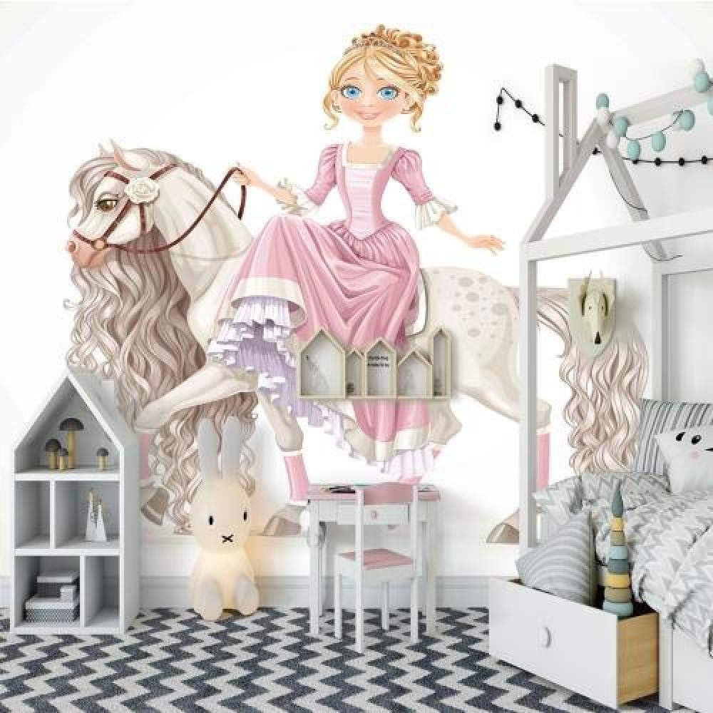 Custom Wallpaper Cartoon Princess Direct store Bombing new work and Horse Deco White Kids Room