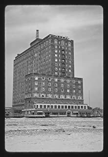 18 x 24 Ready to Hang Black & White Canvas Wrapped Print of Hotel Apartment Building, Atlantic City, New Jersey by Margoli...