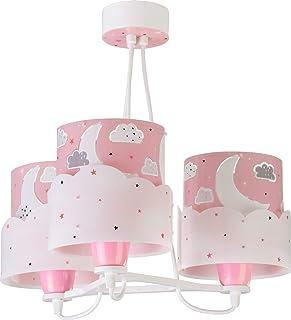 Dalber Moon Lámpara Infantil de Techo 3 Luces Luna y Estrellas, 60 W, Rosa