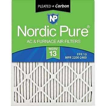 Nordic Pure 15x20x1M13+C-6 MERV 13 Plus Carbon AC Furnace Air Filters Qty-6