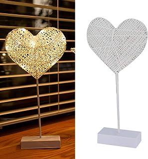 Lámpara de Mesa Lámpara de ratán con batería LED Lámpara de Forma de corazón de Amor Decoración Lámpara Intermitente Lámpara de Mesa de tamaño pequeño Sin batería incluida (Blanco)