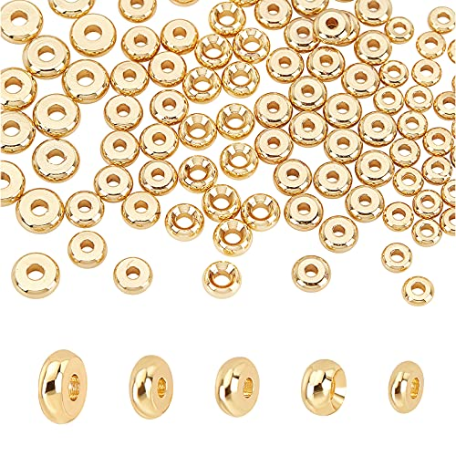 PH Pandahall 200pcs 14K Golden Disc Heishi Spacer Beads Brass Flat Round Disc Rondelle Spacer Beads Metal Beads Spacers for Heishi Clay Beads Jewelry Making