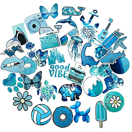 ZZHH 50 Uds Dibujos Animados océano Azul pequeña Pegatina Fresca Nevera Maleta Cuaderno Diario DIY Hecho a Mano Pegatinas de Juguete para niños