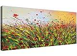 Modernes Gemälde auf Leinwand mit Blumen 'Sommer für Ihr Wohnzimmer–1262–Wallfillers