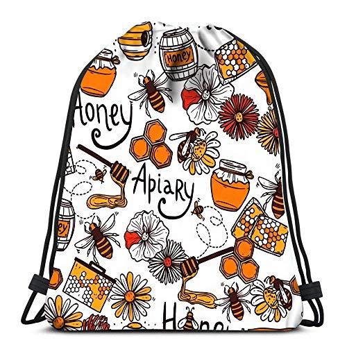 Vince Camu Leichter Turnbeutel,Tanz Taschen,Tunnelzug Gymsack,Sporttaschen,Geschenktasche,Honig Bienenhaus Mit Süßem Essen Flying Bee Wax Langlebig