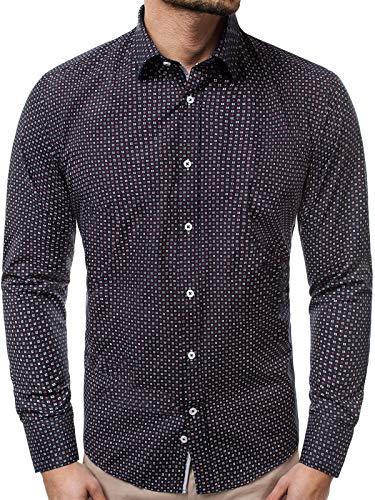 OZONEE Herrenhemd Hemd Freizeithemd Langarm Shirt Motiv Casual Täglichen Modern Slim Fit 777/380KO DUNKELBLAU XL
