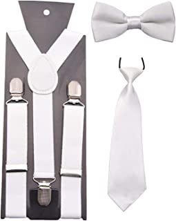 Elviray Adjustable and Elasticated With Metal Clips Polyester Kids Design Suspenders and Bowtie Bow Tie Set Matching Ties Outfits
