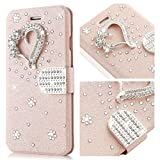 for Galaxy S7 Edge Case,L-FADNUT Bling Jewellery Crystal Rhinestone Flip PU Leather Case,3D Love Magnetic Diamond Buckle with Stand Wallet Card Holder for Samsung Galaxy S7 Edge - Rose Gold