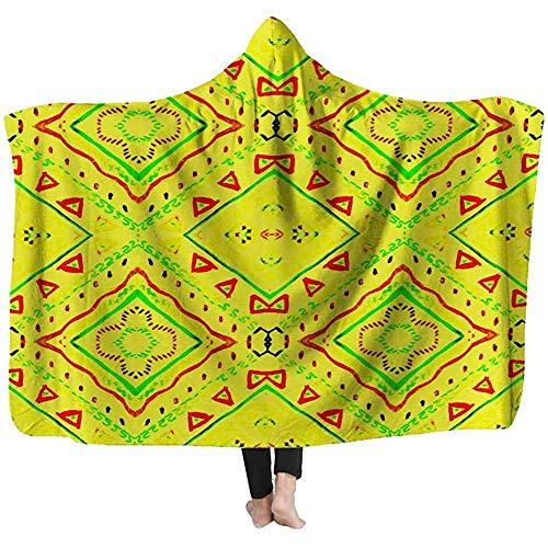 Hooded Deken Licht Gewicht Deken Geel Tie Dye Shibori Boho Batik Patroon Inkt Getextureerde Japanse achtergrond Moderne Tegel Deken 60