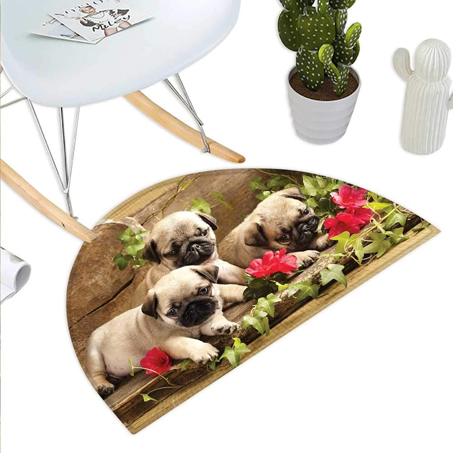 Pug Semicircle Doormat Cute Sibling Puppies with Floral Arrangement in Front Wooden Backdrop Halfmoon doormats H 43.3  xD 64.9  Eggshell Brown Fern Green