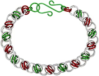 Weave Got Maille Acute Helm Chainmaille Bracelet Kit, Red/Green