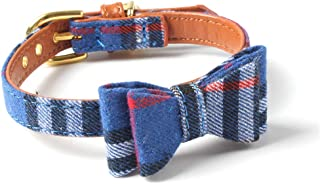Vailge Adjustable Cat Collar with Bell and Bowtie, Small Dog Kitten Collar, Pet Collar for Cats Puppies, Blue 1 Pack