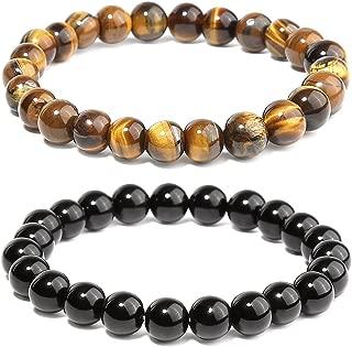 POPSPARK Braided Rope Bracelet, Black Onyx & Tiger Eye Bracelets, Lava Rock & Howlite Stone for Couple Bracelet for Mother's Day