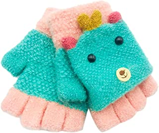 Bleu Webla 1 Paire Gants en Tricot Moiti/é-Doigt Enfant Hiver Gants Enfant Unisexe Solide Coloure Gants Demi-doigts Portable Hiver Chaud Mitaines