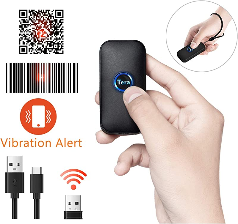 Tera Smallest Barcode Scanner Wireless And Wired 1D 2D QR Digital Printed Bar Codes Reader Mini Pocket Size Handheld QR Barcode Scanner Compact With Tera Rapid Aiming System And Vibration Alert