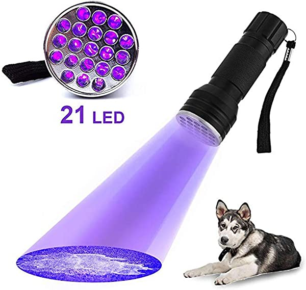 Handheld Ultraviolet 21 LED Flashlight Find Pet Stains Odors On Carpets Rugs And Bed Sheets UV Flashlight Black Light Flashlight Black Lights Handheld Flashlights