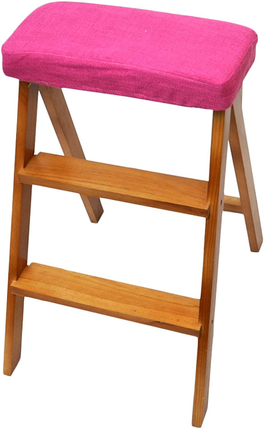 2 Steps Step Stool Solid Wood Collapsible Creativity Multifunction Portable Stool Apply to Kitchen Household Furniture (color   T, Size   424963cm)