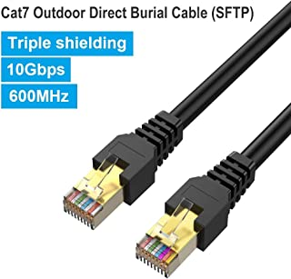 Outdoor Cat7 Ethernet Cable 175ft Black,PHIZLI Shielded Grounded UV Resistant Waterproof Buried-able Network Cord 10 Gigabit 600MHz Triple Shielded (SFTP) with OFC Cat 5e, Cat 6 RJ45 Lan Network Patch