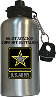 601st Aviation Support Battalion - US Army Water Bottle Silver, 1022