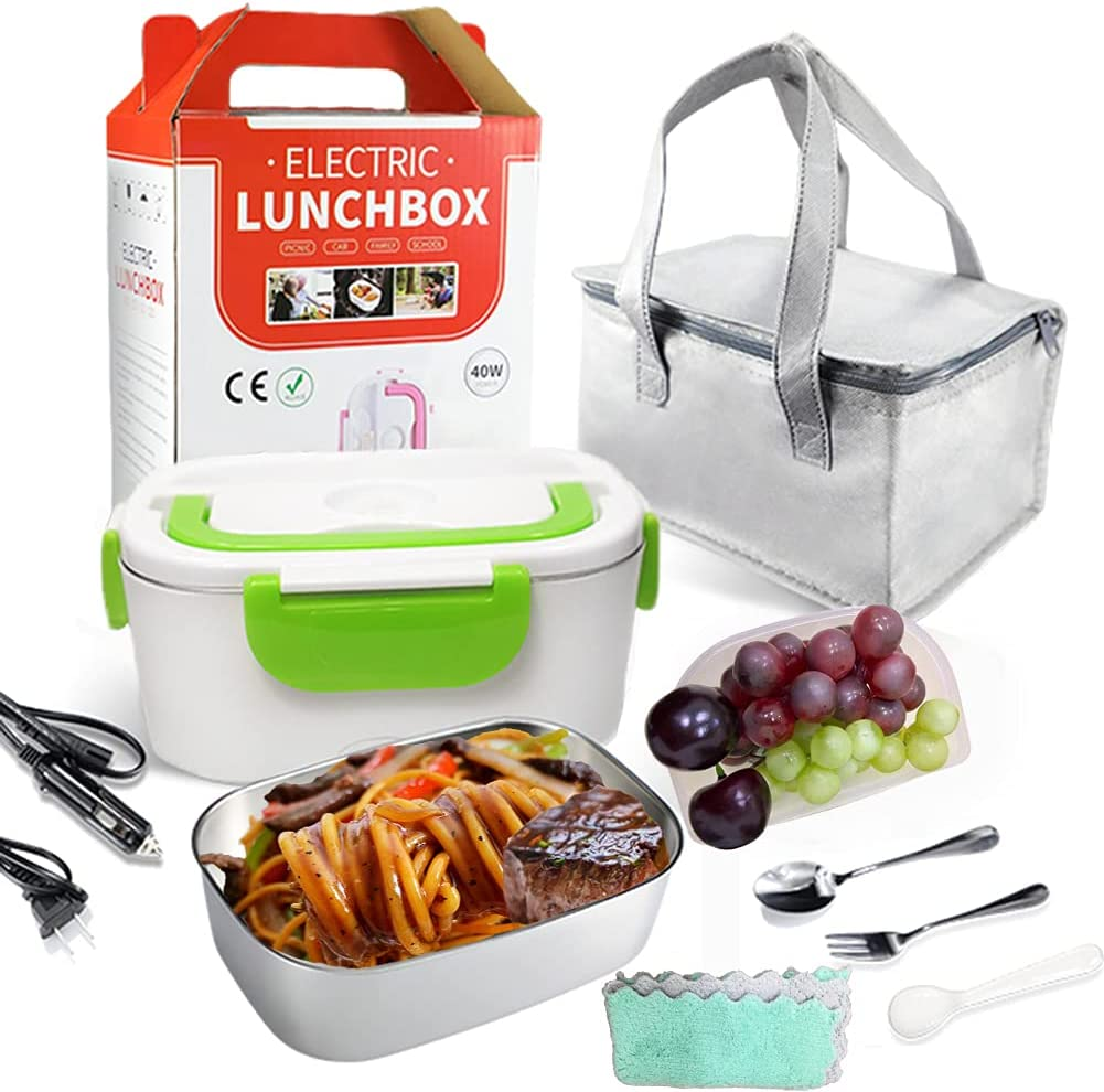 Electric Lunch Box,Home/office and truck/car two-in-one Lunch Box Heater ,Portable Detachable304Stainless Steel Food Heater Lunch Box ,1.5L inner tank fork Spoon Insulation bag (gray) 40W, 12V &110V
